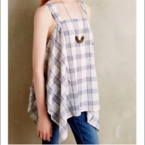 ANTHRO Holding Horses Plaid Trapeze Tank in blue
